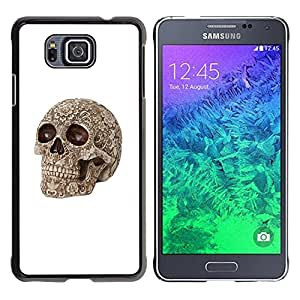 Eason Shop / Hard Slim Snap-On Case Cover Shell - Death Brown Bone Skull Death Biker - For Samsung GALAXY ALPHA G850