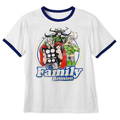 Family Reunion Ringer T-shirt - Marvel Thor, Loki and Hela Family Reunion Ringer T-Shirt for Women Size Mens S White