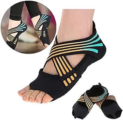 Tbest Calcetines de Yoga Antideslizantes para Mujeres, Calcetines de Yoga Pilates Calcetines de Agarre de Yoga con puños Antideslizantes Zapatos de ...