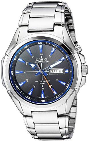 (Casio Men's Super Illuminator Quartz Watch with Stainless-Steel Strap, Silver, 22 (Model: MTP-E200D-1A2VCF)