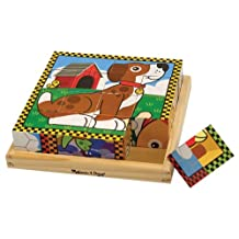 Melissa & Doug Pets Wooden Cube Puzzle With Storage Tray (16 pcs)