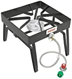 "Preassembled unit only connects LP hose to burner and propane tank Perfect choice for all types of outdoor cooking Portable enough for camps, rv's, tailgating, and backyards Large 16"" x 16"" Cooking Surface 6"" Cast Iron Fry Burner 36"" Stainless St..."