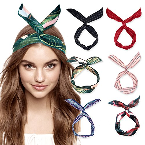 Accessory Wrap Hair (DRESHOW Boho Headbands for Women Vintage Flower Printed Hair Band Wire Head Wrap Cute Hair Accessories Pack 6)