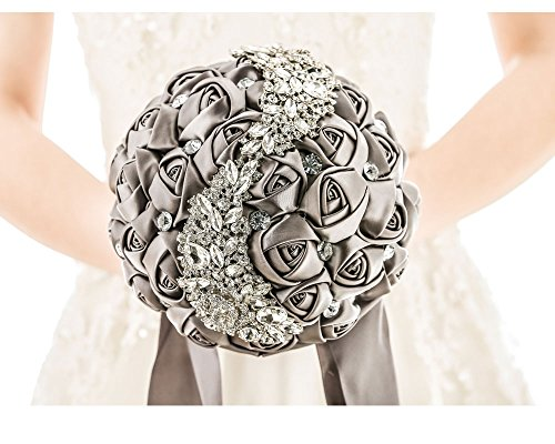 Pavian Advanced Customization S type brooch wedding bouqeut bride holding flowers with rhinestone pearl grey