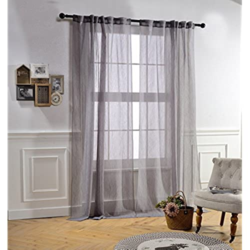 Rod Pocket Semi Sheer Curtains For Bedroom By MYSKY HOME Back Tap Crushed  Sheer Curtain Panels For Living Room (Grey, 51 Inch Width By 95 Inch  Length, ...