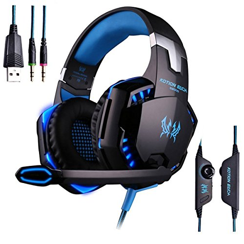 AWON Gaming Headset with Mic for PC,PS4,Xbox One,Over-ear Headphones with Volume Control LED Light Cool Style Stereo,Noise Reduction for Laptops,Smartphone,Computer (Blue) by Awon