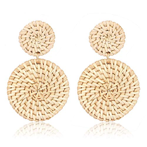 Zhaoyun 2019 Weave Straw Double Disc Drop Earrings Boho Rattan Dangle Statement Earrings ()