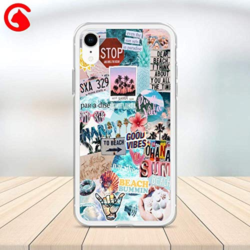 (CatixCases Good Vibes Phone Case Tropical Beach Stickers Quotes Cell Plastic Сlear for Apple iPhone X/XS/XR/XS Max / 7/8 / plus iPhone 6 / 6S plus Protector Protective Cover Art Design)