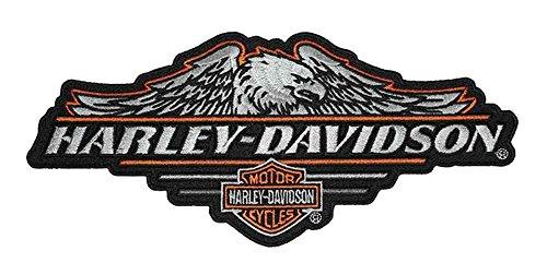 (Harley-Davidson Cropped Eagle B&S Embroidered Emblem, LG 8 x 3.5 inch)