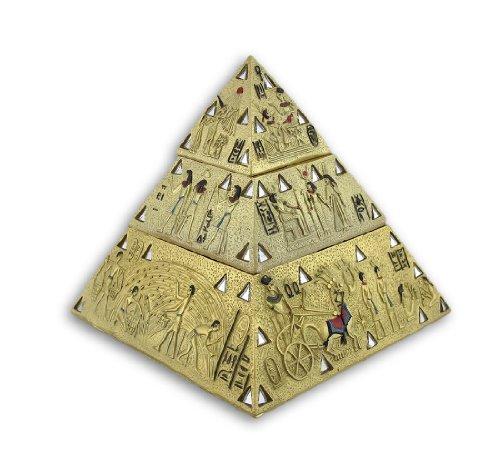 Ancient Egyptian Golden Pyramid Double Trinket Box