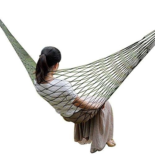 (Ezyoutdoor Army Green Nylon Mesh Net Hammock Hanging Mesh Net Sleeping Bed Swing for Hiking Camping Outdoor Travel Sports Beach Yard)