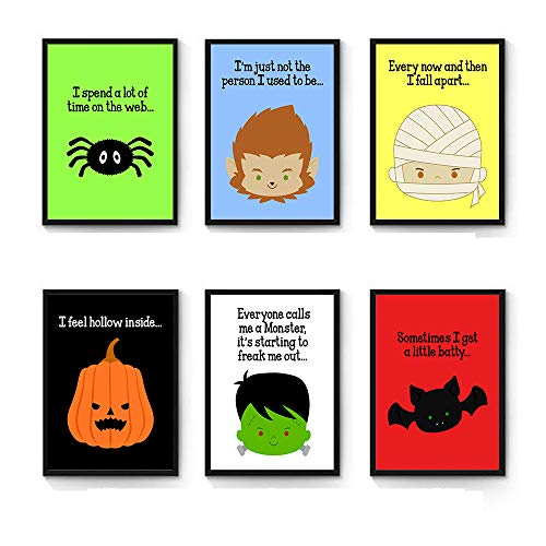 Silly Goose Gifts Funny Cute Halloween Faces Wall Art Prints (Set of Six) 8x10in Decoration -