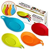 ORBLUE Kitchen Silicone Spoon Rest, Flexible Almond-Shaped Silicone Kitchen Spoon Holder, Cooking Utensil Rest Ladle Spoon Holder 4-PACK, Vibrant Colors