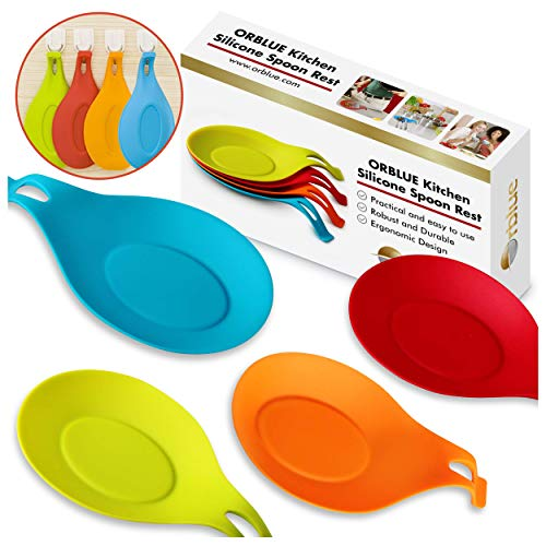 ORBLUE Kitchen Silicone Spoon Rest, Flexible Almond-Shaped Silicone Kitchen Spoon Holder, Cooking Utensil Rest Ladle Spoon Holder 4-Pack, Vibrant -