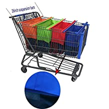 Shopping Trolley Bag on Wheels - Non-woven Fabric Reusable Grocery Cart Bags , Set of 4