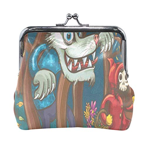 Coin Purse Little Red Riding Hood And Big Bad Wolf Womens Wallet Clutch Bag Girls Small Purse]()