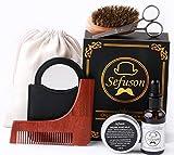 Beard Grooming and Care Kit for Men Care- Beard Oil, Mustache & Beard Balm Wax,Beard Brush,Beard Shaping Template Plus Comb,Mirror,Scissors for Styling, Shaping & Growth Gift set