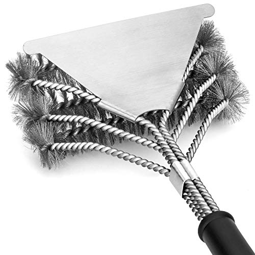 (YEYE Grill Brush and Scraper Grilling BBQ Brush Safe 18'' Stainless Steel Wire 3 in 1 Bristles Head Barbecue Brush Great Grill Accessories for Grill Cooking Cleaning )