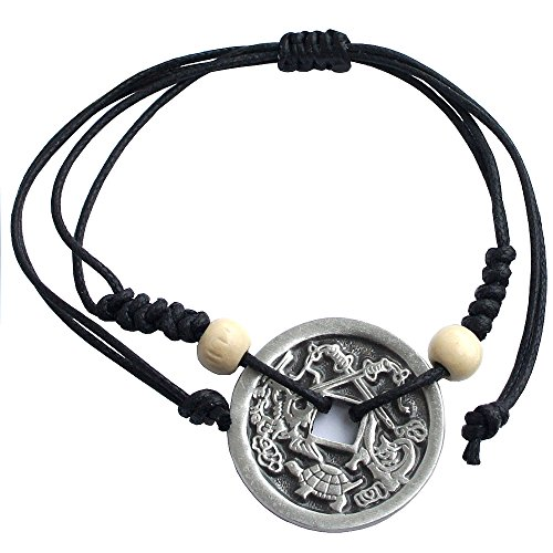 Coin Chinese Bracelet (Chinese i-ching coin Good fortune Charm Bracelet lucky pewter pendant (Treasure))