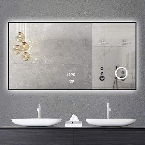 浴室用化粧鏡 LED照明付きバスルームミラー、壁取り付けアルミニウムIP44バスルーム調整可能なライトデミスターパッド、3x拡大