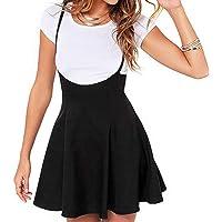 Falda de Tirantes Mujer Falda Vuelo Negro Cintura Alta Estilo Casual Acampanada Color Liso