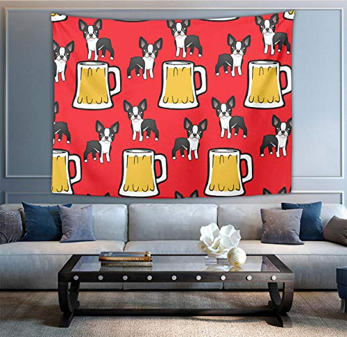 NiYoung Hippie Hippy Wall Tapestry Happy New Year Boston Terriers with Beer Abstract Tapestries Wall Hanging Tapestry for Wall Art Dorm Accessories Mandala Tablecloth Picnic Blanket Dorm Tapestry