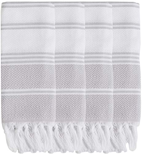 DEMMEX 2019 Natural Turkish Cotton Diamond Weave Bath Beach Fouta Towel Blanket & Hand Face Towel Wash Dish Cloth Set (4 Hand, White - Grey) (Best Bath Towels 2019)