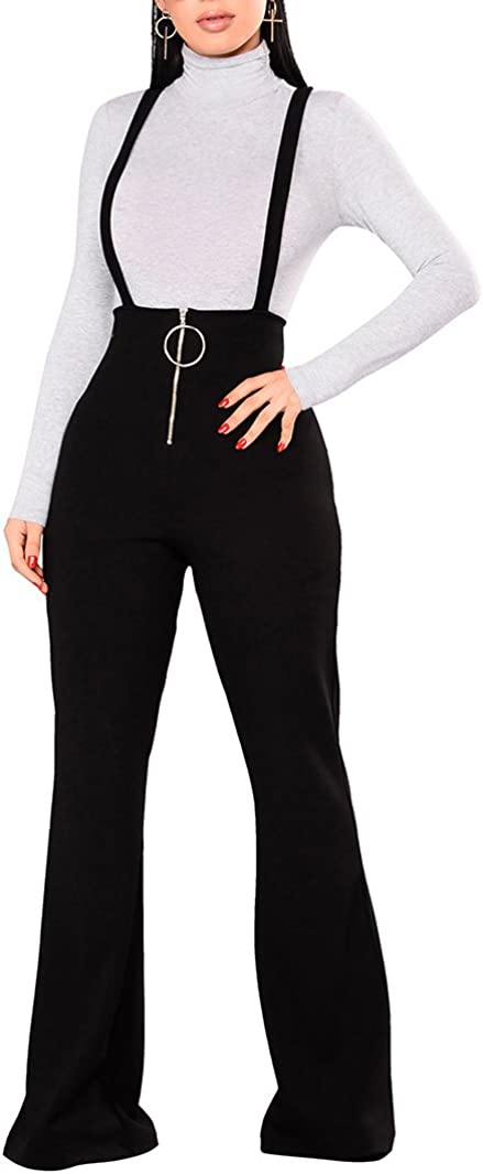Remelon Womens Sleeveless High Waisted Zipper Front Bell Pants Suspender Jumpsuits Overalls