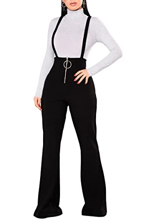 c5c56e30480 Amazon.com  Remelon Womens Sleeveless High Waisted Zipper Front Bell Pants  Suspender Jumpsuits Overalls  Clothing