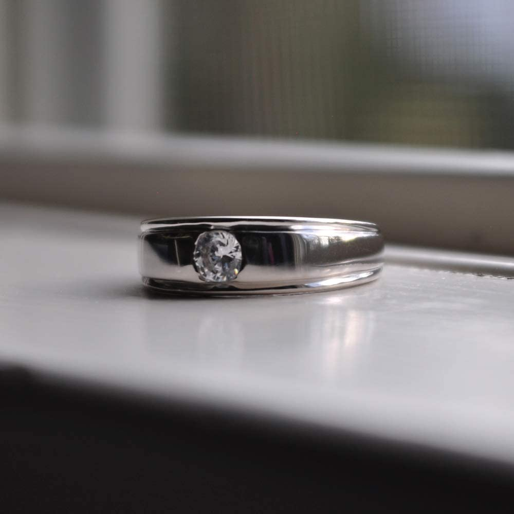 Mens Round Burnished Set Solitaire In Sterling Silver With Black Cubic Zirconia TwoBirch 0.5 Ct