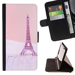 For Sony Xperia Z2 D6502 Case , Eifel de París Pink Peach Francia- la tarjeta de Crédito Slots PU Funda de cuero Monedero caso cubierta de piel