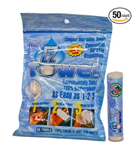 Price comparison product image EZ Towel with New Durable Tube and Packaging, 50 Pieces