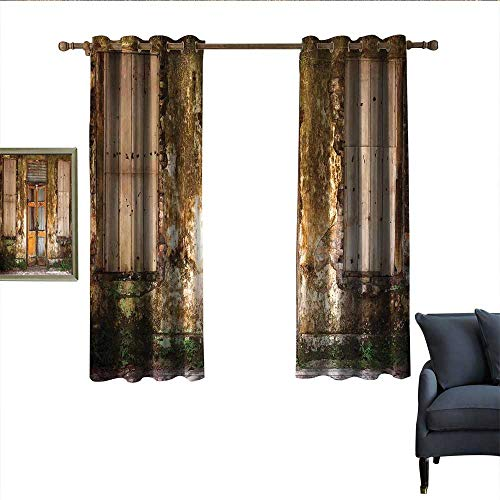 longbuyer Rustic Thermal Curtains Damaged Shabby House with Boarded Up and Rusty Doors and Moldy Windows Photography Darkening and Thermal Insulating 63