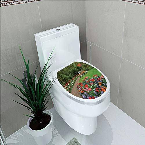 - Toilet Sticker 3D Print Design,Country Home Decor,A Spring Garden with Forest Hut Small Bridge Plants Flowerbeds and Walkway,Green Purple,for Young Mens,W11.8