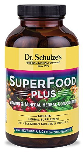 Dr. Schulze's | SuperFood Plus | Vitamin & Mineral Herbal Concentrate | Dietary Supplement | Daily Nutrition & Increased Energy | Gluten-Free & Non-GMO | Vegan & Organic | 390 Vegetarian Tablets