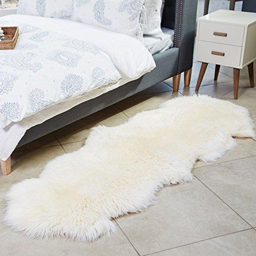 A-STAR Natural White Sheepskin Rug - 2 x 6 Double Genuine Sheep Skin Rug (Genuine Sheepskin Rug)