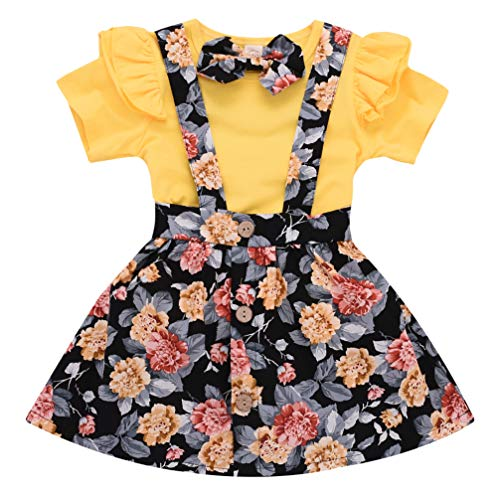 Toddler Girls Outfits 3pcs Baby Romper Clothes Set Girl Floral Jumpsuit+Strap Skirt Outfits Yellow ()