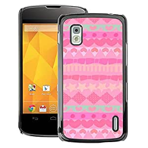 A-type Arte & diseño plástico duro Fundas Cover Cubre Hard Case Cover para LG Nexus 4 E960 (Pattern Polygon Teal Hearts Stars)