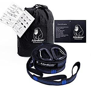 Camping Hammock Double Nest Portable Hammocks Parachute Nylon Lightweight Hammock for Outdoor Travel Hiking Beach Backpacking with Two Tree Straps and Two Carabiners (Black&Gray)