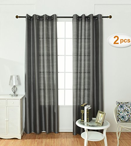 84' Sheer Curtain Panel (Opal Selection Semi-sanity Gauzy Curtains Natural Light Flow Faux Silk Durable Material Window Curtain Lined Drapes Treatment 2 Panels(54x 84, Charcoal))