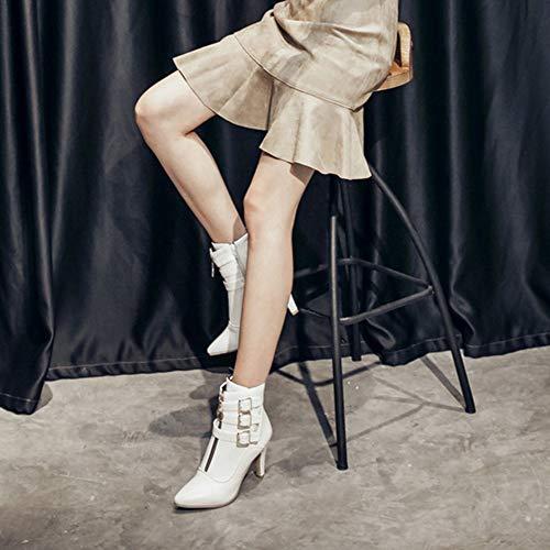 Bottillons De Blanc Chaussures Éclair Ceinture Talons Les Femme Unie Haut Fermeture Hauts Couleur Pointu Talon Yebiral Boucle azFxqO5w