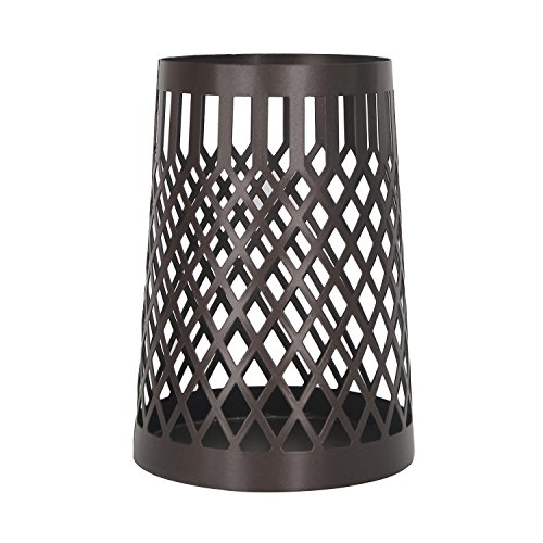 Homebeez Decorative Metal Candle Holder, Weave Basket Style, Black by Homebeez