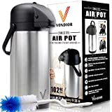 3 Liter Thermal Airpot Beverage Dispenser By Vondior (102 Ounce)-Stainless ...