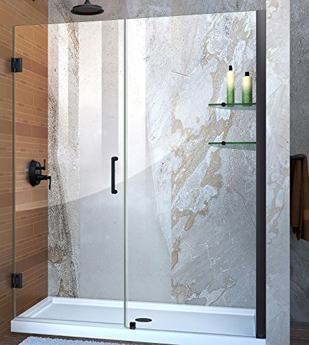 DreamLine SHDR-20587210S-09 Unidoor Min 58 In. To Max 59 In. Frameless Hinged Shower Door, Clear 3/8 In. Glass