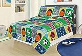 Twin 2 Piece Set Bedding Quilt Bed Set Bedspread, Sports Football Basketball Soccer Baseball Kids Boys