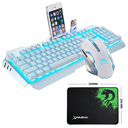LexonElec@ Technology Keyboard Mouse Combo Gamer Wired Sky Blue LED Backlit Metal Pro Gaming Keyboard + 2400DPI 6 Buttons Mouse + Mouse Pad for Laptop PC (White & Blue Backlit)