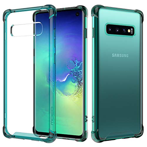 MoKo Compatible with Galaxy S10 Case, Clear Reinforced Corners TPU Bumper and Anti-Scratch Rugged Transparent Hard Panel Cover Fit with Samsung Galaxy S10 6.1 inch 2019 - Clear Green