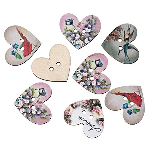 HOUSWEETY Wooden Buttons Shaped Scrapbook