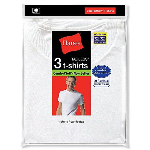 Hanes Men's 3-Pack Tagless Crew Neck T-Shirt (XXX-Large (54-56), White)