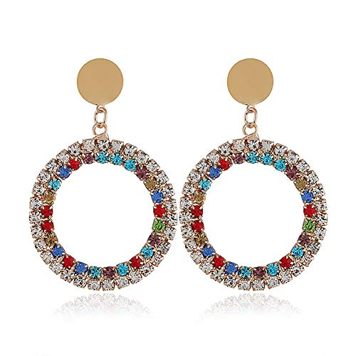 MIXIA Rainbow Crystal Round Hoop Drop Earrings for Women Charm Disc Sequins Coin Stud Earrings Jewelry with AB (Colorful)
